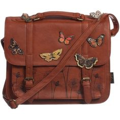 Heritage and Harlequin Brown 'Bohemia' Butterfly Satchel (32cm) ($78) ❤ liked on Polyvore featuring bags and purses