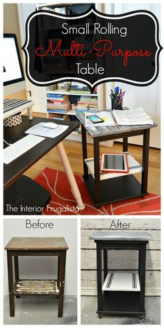 Small Portable Rolling Multi Purpose Table Before and After | The Interior Frugalista