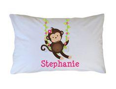 Monkey Pillow Case Boy Girl Personalized