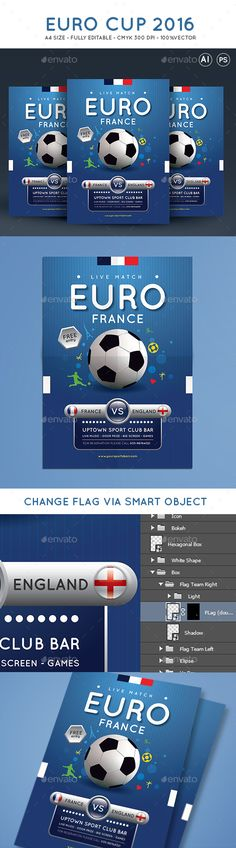PSD Euro #2016 Cup Soccer Tournament Flyer Template • Only available here ➝ http://graphicriver.net/item/euro-cup-soccer-tournament-flyer/16410394?ref=pxcr