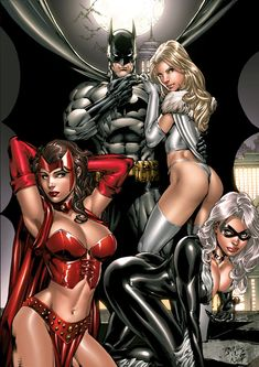 Batman, Scarlet Witch, Emma Frost and Black Cat by Ed Benes.