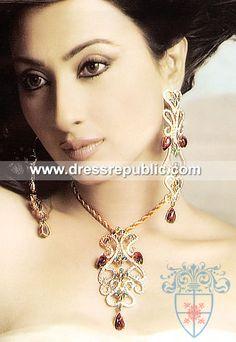 Style DRJ1014, Product code: DRJ1014, by www.dressrepublic.com - Keywords: Diamond Like Zircons Indian Pakistani Jewelry Online Shop USA, UK, Canada