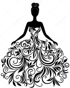 Векторный силуэт молодой женщины в элегантный свадебное платье