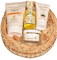 Coffret Huile d'argan biologique – 4 Soins visage, corps et cheveux (Crème de nuit Anti-Age + Gommage visage + Crème de jour + Huile…