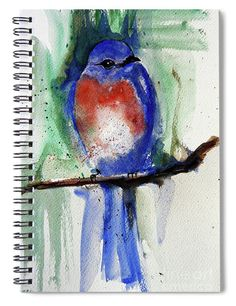 """This 6"""" x 8"""" spiral notebook features the artwork """"Bluebird"""" by Jasna Dragun on the cover and includes 120 lined pages for your notes and greatest thoughts."""