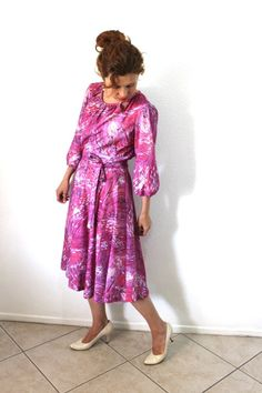 Chic 60's Dress Abstract Print Full Skirt by KMalinkaVintage