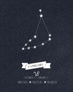 Capricorn Constellation Print Art Print by Angelina Perdomo