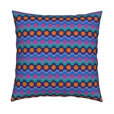 Catalan Throw Pillow featuring FUNNY RETRO CARNIVAL CLOWNS HEXAGONS  PERIWINKLE BLUE by paysmage | Roostery Home Decor