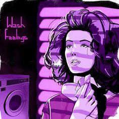https://www.curioos.com/product/print/wash-feelings  #print #printshop #poster #postershop #synthpop #retrowave #80s #eighties #comicart #neon #neonart