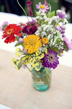 Vintage Mason Jar Centerpiece with DIY flowers (love the wildflower look)