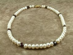 White Pearl Necklace with Garnet Κολιέ με Λευκά by AkoyaPearls, €128.00