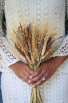 Consists of dried and preserved natural wheat, dried and preserved lavender, dried and preserved broom corn, dried and preserved natural starflowers, and dried and preserved orange starflowers. Fall Wedding Flowers, Flower Bouquet Wedding, Autumn Wedding, Thanksgiving Wedding, Bouquet Flowers, Wheat Wedding, Diy Wedding, Wedding Broom, Wedding Photos