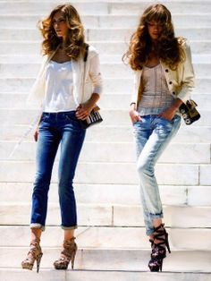 Fancy Modern Spring Street Style. Love rolled up jeans with heels.