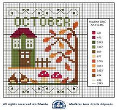 Broderi og kryss stitch mønstre til gratis: Ordninger måneder cross-stitch DMC