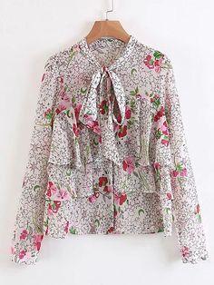 Flower Print Tie Neck Tiered Blouse -SheIn(Sheinside)