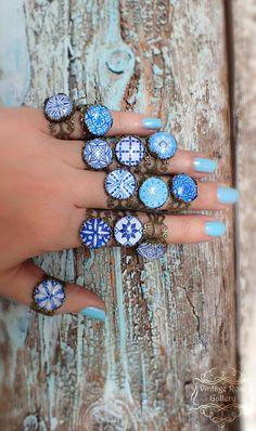 SALE, IBIZA Blue Boho Ring , Blue Hippie Bohemian  Ring, Mediterranean Boho  Ring, Blue Ceramic Bronze Ring,  by VintageRoseGallery