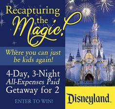 BEST. GIVEAWAY. EVER!!  Enter to win a Disneyland getaway complete with a personal travel concierge, airfare, hotel accommodations, Disneyland tickets, Disney bucks, AND a Sony Cyber-shot camera!!! www.TheDatingDivas.com #disneyland #giveaway #getaway