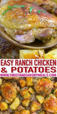 Chicken and Potatoes is a very easy, one sheet pan dinner, made with just 5 ingredients. #chickenfoodrecipes #chickenrecipes #chicken #sweetandsavorymeals #recipevideo #ranch