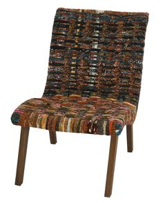 Moira Accent Chair w/Natural Legs in Recycled Batik - NPD