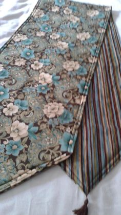 Beautiful Flower Table Runner 72x14 Reversible and Handmade and Padded by freemansalesgirl on Etsy