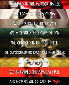 And now we will go back to American Horror Story seasons. American Horror Story Coven, American Horror Story Seasons, Roanoke American Horror Story, Horror Movie Posters, Horror Movie Characters, Scary Movie List, Scary Movies, Horror Comics, Jessica Rabbit