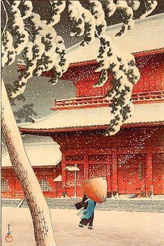 Japanese Ukiyo-e: Zojo Temple, Shiba. Kawase...