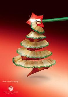 When Christmas time comes, there are just ads everywhere. Christmas season is a perfect time for your marketing or product promotion, and creative advertising design can easily stand out and catch people's eyes at the first time. Unusual Christmas Trees, Pencil Christmas Tree, Creative Christmas Trees, Diy Christmas Tree, Xmas Tree, Christmas Holidays, Merry Christmas, Christmas Decorations, Happy Holidays