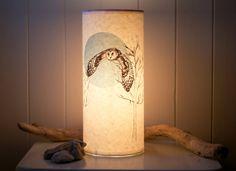 Flying Owl Illustrated Handmade Paper Lamp