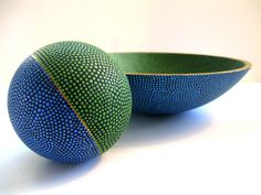 Earth Blue and Green Hand Painted Bowl and Orb by PearlesPainting, $475.00