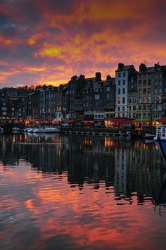 Sunset in Honfleur, Normandie, France. So beautiful here & did I mention the food in France is the best food on the planet. My favorite used to be Mediterranean until we spent a week in France. Places Around The World, Oh The Places You'll Go, Places To Travel, Places To Visit, Around The Worlds, Best Vacations, Vacation Destinations, Honfleur, France Travel