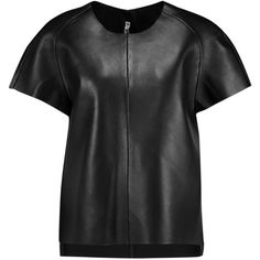 Acne Studios Mono paneled leather T-shirt (25,795 DOP) ❤ liked on Polyvore featuring tops, t-shirts, black, black top, loose tee, boxy tee, zip top and leather top