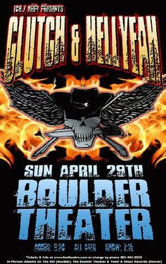 Original concert poster for Clutch and Hell Yeah at The Boulder Theater in Boulder, CO in card stock. Artwork by Mark Serlo. Rock Posters, Concert Posters, Event Posters, Music Posters, Band On The Run, Music Artwork, Great Bands, Bouldering, Illustrations Posters