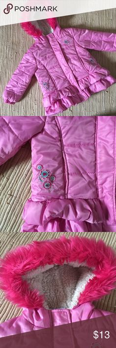 Pink Hooded Puffer Pink puffer with Sherpa lined hood and flower embroidery. Slit pockets with both zip and velcro closure. Great shape. Jackets & Coats Puffers