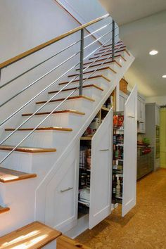 Closet Space Under Stairs Design Ideas, Pictures, Remodel, and Decor Staircase Storage, Stair Storage, Staircase Design, Stair Design, Staircase Ideas, Railing Ideas, Hidden Storage, Staircase Pictures, Basement Staircase