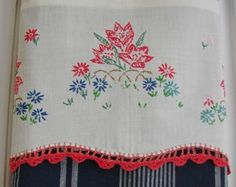 Vintage Embroidery Cross Stitch Linen Cotton by TwoGirlsLaughing