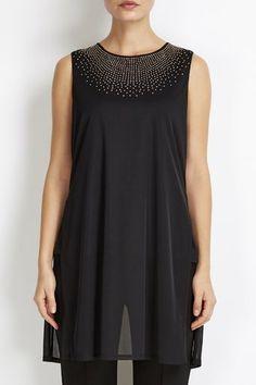 Black Mesh Embellished Split Back Top Black Mesh, Top Sales, Fashion Dresses, Trousers, Clothes For Women, Coat, Shopping, Design, Style