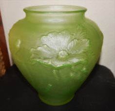 TIFFIN Ovoid green depression glass  Poppy vase by 3FunkyMonkeys #doubleteampromotionsocialmedia #ThreeFunkyMonkeys