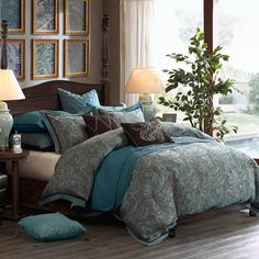 Lauren by Hampton Hill is traditionally inspired yet ideal for todays home with an updated paisley design. The blues and browns swirl together as the paisley covers the comforter and matching pillow shams. Both the shams and the comforter are finished with a decorative contrasting flange. The complimentary euro shams and decorative cushions complete the bed beautifully. Lauren is available in comforter sets in Queen and King sizes. The comforter set includes the comforter, pillow shams…