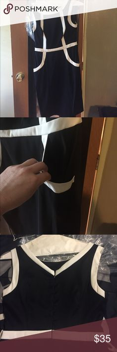 Black and white dress Business dress Dresses Midi