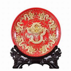 12Inch nine Dragon Red plate Decoration