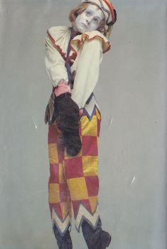Mikhail Baryshnikov wearing Nijinsky's original Petrouchka costume, from the collection of Nadia Nerina. Photo by Richard Avedon, 1978