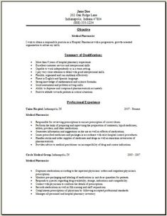 hospital pharmacist resume sample httpwwwresumecareerinfohospital - Pharmacist Resume Template