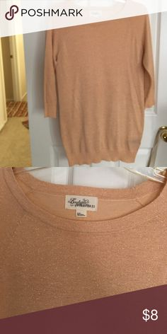 Rose gold sweater Never worn. Rose gold thin sweater. Perfect with leggings or light enough with shorts and boots. Forever 21 Sweaters