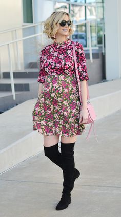 mixed print floral dress, over the knee boots, fall outfit idea, stylish maternity outfit