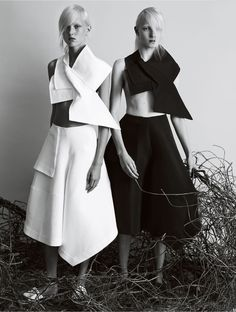 """""""In The Fold,"""" featuring Harleth Kuusik and Maja Salamon, photographed by Josh Olins for Vogue U.K. (February 2014)."""