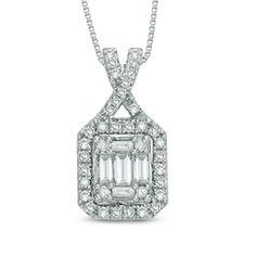 1/3 CT. T.W. Diamond Rectangular Composite Frame Pendant in 14K White Gold - Gordon's Jewelers