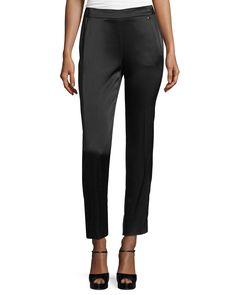 Satin Pull-On Ankle Pants, Black