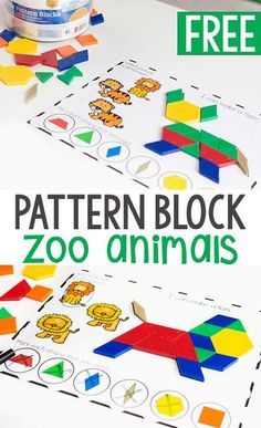 FREE printable zoo animal pattern block activity is great for preschoolers. Grab these free printable pattern block mats for preschool zoo animal themes. #patternblock #freeprintable #zooanimals #zootheme #prek #kindergarten #finemotor #occupationaltherapy Zoo Preschool, Preschool Learning, In Kindergarten, Preschool Activities, Teaching, Free Printables Preschool, Themes For Preschool, Zoo Animal Activities, Preschool Shapes