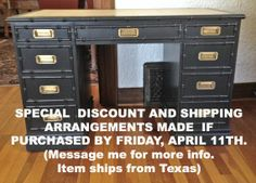 Faux Bamboo Campaign Desk by Sligh Furniture by DCEclecticHouse, $750.00