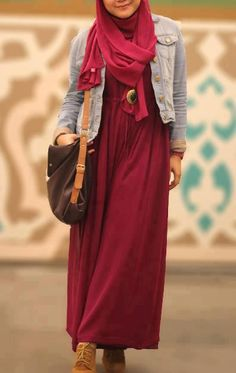 Hijab, denim jacket and maxi